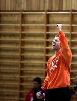 Håndball<br /> Cup herrer kvartfinale<br /> 09.10.08<br /> Vålerenga VIF - Follo<br /> Cupbombe VIF til semifinale<br /> Keeper Andreas Skalin jubler etter en redning<br /> Foto - Kasper Wikestad