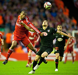 29.04.2010, Anfield, Liverpool, ENG, UEFA EL, Liverpool FC vs Atletico Madrid im Bild Liverpool's Ryan Babel and Club Atletico de Madrid's Alvaro Dominguez, EXPA Pictures © 2010, PhotoCredit: EXPA/ Propaganda/ D. Rawcliffe