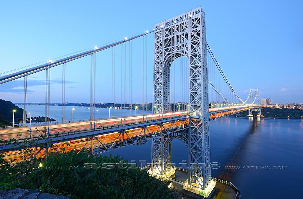 Traffic on George Washington Bridge from New York City and NJ, USA.