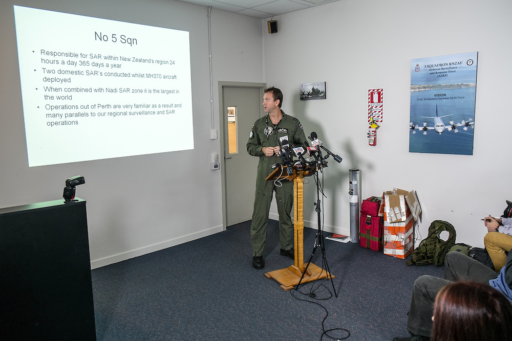 The Commanding Officer of the Royal New Zealand Air Force Airborne Surveillance and Reconnaissance Force (No 5 SQN), Wing Commander Rob Shearer gives a presentation at RNZAF Base Auckland on the Squadron's contribution to the search for the missing Malaysian Airlines Flight MH370, Whenuapai, Auckland, New Zealand, Thursday, March 27, 2014. Credit:SNPA / Bradley Ambrose