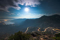 """""""Full Moon Above Donner Lake 7"""" - Photograph of a full moon rising above Donner Lake, Truckee, Old Hwy40, and Rainbow Bridge. Shot shortly after sunset."""