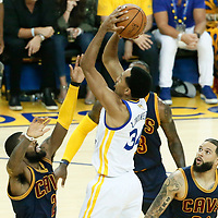 01 June 2017: Golden State Warriors guard Shaun Livingston (34) takes a jump shot over Cleveland Cavaliers guard Kyrie Irving (2) during the Golden State Warriors 113-90 victory over the Cleveland Cavaliers, in game 1 of the 2017 NBA Finals, at the Oracle Arena, Oakland, California, USA.