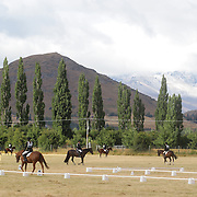 Horse and riders prepare for competion in the Dressage event at the Wakatipu One Day Horse Trials,  Queenstown, Otago, New Zealand. 15th January 2012. Photo Tim Clayton
