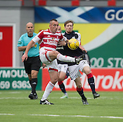 Hamilton&rsquo;s Darian MacKinnon and Dundee&rsquo;s Craig Wighton battle for the ball - Hamilton v Dundee in the Ladbrokes Scottish Premiership at Superseal stadium, Hamilton. Photo: David Young<br /> <br />  - &copy; David Young - www.davidyoungphoto.co.uk - email: davidyoungphoto@gmail.com