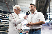 Oscar De La Hoya visits with the media at AT&T Stadium in Arlington, Texas before the weigh-ins on September 16, 2016.  (Cooper Neill for ESPN)