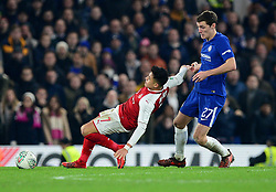 Andreas Christensen of Chelsea fouls Alexis Sanchez of Arsenal - Mandatory by-line: Alex James/JMP - 10/01/2018 - FOOTBALL - Stamford Bridge - London, England - Chelsea v Arsenal - Carabao Cup semi-final first leg