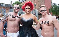 © Licensed to London News Pictures. <br /> 27/09/2014. <br /> <br /> Middlesbrough, United Kingdom<br /> <br /> Entertainers La Voix pose for the camera at the start of a parade in the centre of Middlesbrough as part of a Pride event that brings together many members of the Lesbian, Gay, Bisexual and Transgender community from the area.<br /> <br /> Photo credit : Ian Forsyth/LNP
