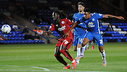 Olutobi Adebayo-Rowling heading back into safety during the Capital One Cup match between Peterborough United and Crawley Town at London Road, Peterborough, England on 11 August 2015. Photo by Michael Hulf.