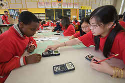 United States, Washington, Seattle, high school students doing math together with calculators