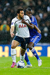 Mousa Dembele of Tottenham Hotspur is challenged by Ramires of Chelsea - Photo mandatory by-line: Rogan Thomson/JMP - 07966 386802 - 01/03/2015 - SPORT - FOOTBALL - London, England - Wembley Stadium - Chelsea v Tottenham Hotspur - Capital One Cup Final.