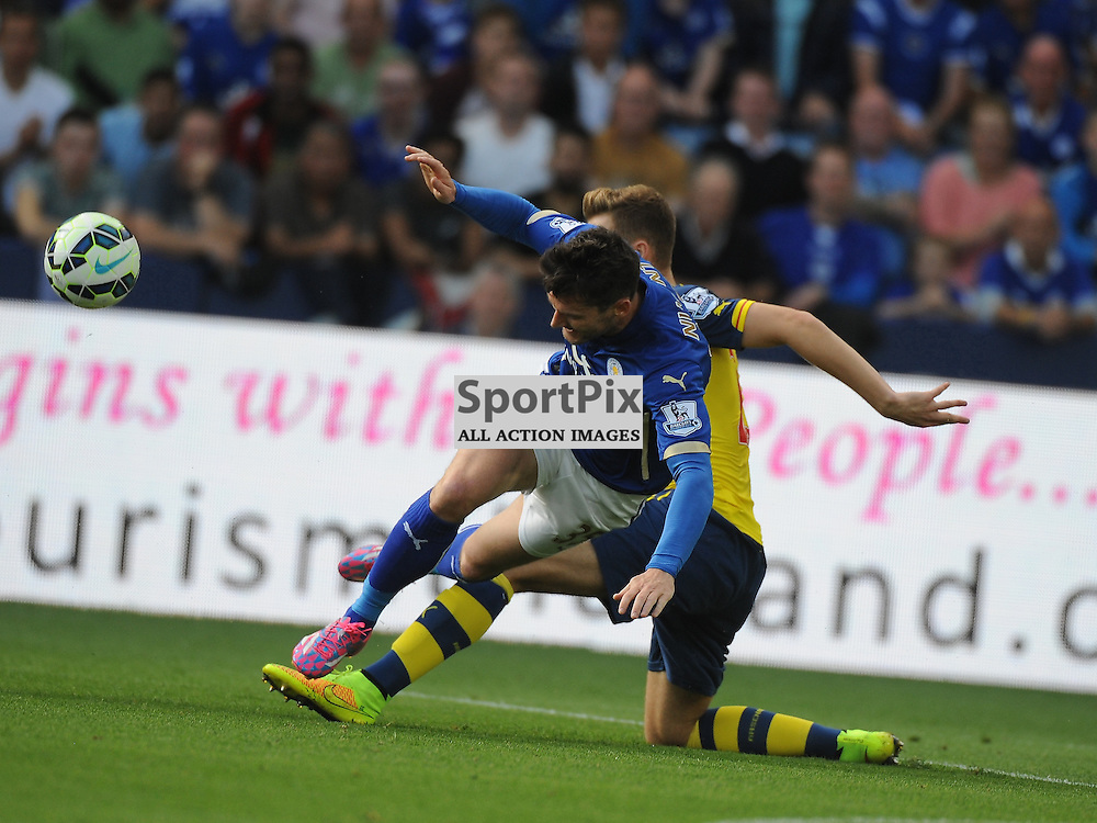 Leicesters David Nugent Bougth Down Just Outside Area, Leicester City v Arsenal, Premiership, King Power Stadium, Sunday 31st  August 2014