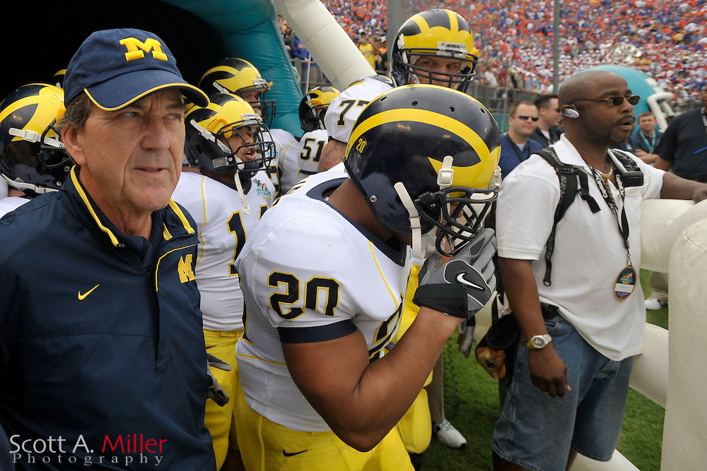 Jan. 1, 2008; Orlando, FL, USA; Michigan Wolverines coach Lloyd Carr prior to the Wolverines 41-35 win over the Florida Gators in the Capital One Bowl at the Citrus Bowl...©2008 Scott A. Miller