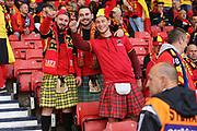 Belgium fans enjoying the atmosphere during the UEFA European 2020 Qualifier match between Scotland and Belgium at Hampden Park, Glasgow, United Kingdom on 9 September 2019.