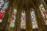 Stained glass windows, Chateau de Chenonceau, Chenonceaux, Loire Valley, France