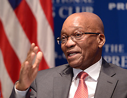 WASHINGTON D.C., Aug. 4, 2014  South African President Jacob Zuma speaks at the National Press Club in Washington D.C., the United States, Aug. 4, 2014. Leaders of African countries are in Washington for the US-Africa summit scheduled to be held from Aug. 4 to 6. (Xinhua/Yin Bogu) (Credit Image: © Xinhua via ZUMA Wire)