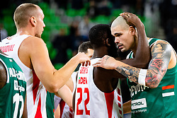 Maik Zirbes of KK Cedevita Olimpija and Charles Jenkins of KK Crvena Zvezda MTS during ABA basketball league round 9 match between teams KK Cedevita Olimpija and KK Crvena Zvezda MTS in Arena Stozice, 1. December, 2019, Ljubljana, Slovenia. Photo by Grega Valancic / Sportida