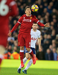 LIVERPOOL, ENGLAND - Sunday, February 4, 2018: Liverpool's Roberto Firmino during the FA Premier League match between Liverpool FC and Tottenham Hotspur FC at Anfield. (Pic by David Rawcliffe/Propaganda)
