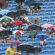 A rain delay during  the Maria Sharapova, Russia, against Marion Bartoli, France, during the US Open Tennis Tournament, Flushing, New York. USA. 5th September 2012. Photo Tim Clayton