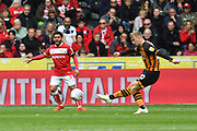 Hull City forward Jarrod Bowen (20) during the EFL Sky Bet Championship match between Hull City and Bristol City at the KCOM Stadium, Kingston upon Hull, England on 5 May 2019.