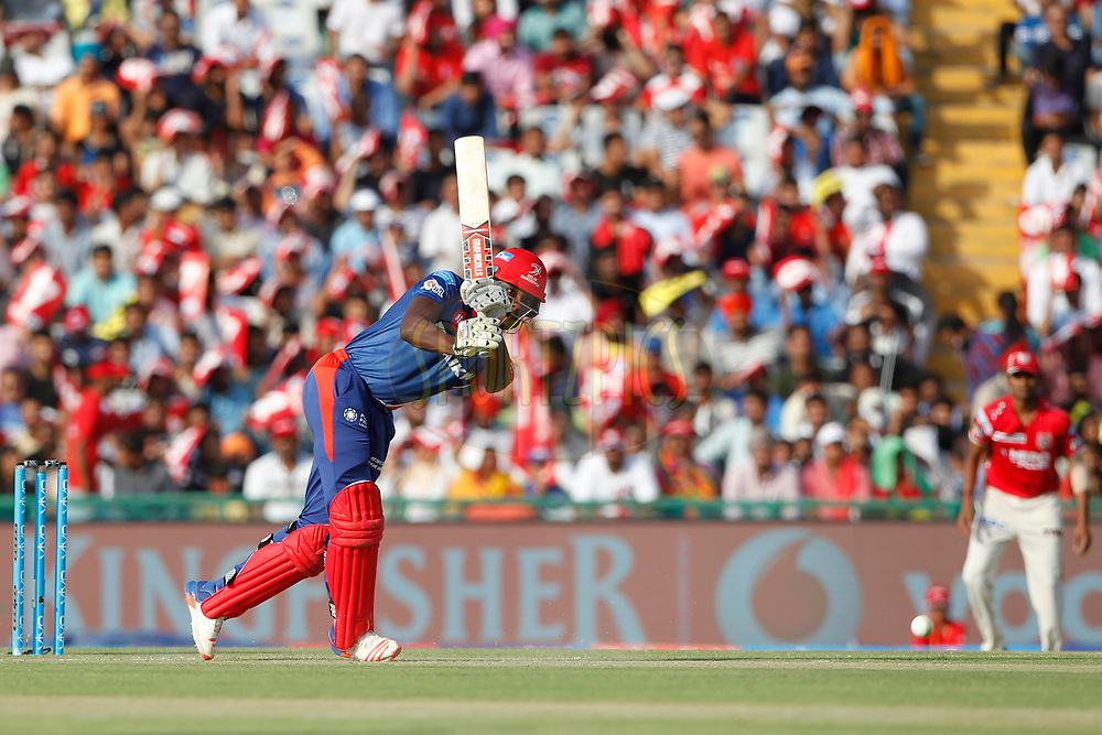 Kagiso Rabada of the Delhi Daredevils bats during match 36 of the Vivo 2017 Indian Premier League between the Kings XI Punjab and the Delhi Daredevils  held at the Punjab Cricket Association IS Bindra Stadium in Mohali, India on the 30th April 2017<br /> <br /> Photo by Deepak Malik - Sportzpics - IPL