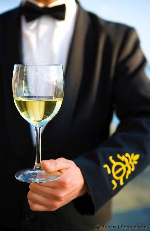A waiter serves a glass of white wine at a formal event outside.