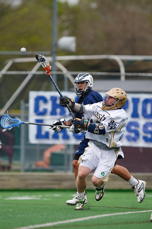 May 1, 2009:    #6 Alessi, Billy of Quinnipiac and #12 Grant Krebs of Notre Dame in action during the NCAA Lacrosse game between Notre Dame and Quinnipiac at GWLL Tournament in Birmingham, Michigan. (Credit Image: Rick Osentoski/Cal Sport Media)