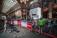 Events taking place in Leadenhall Market as part of the Prudential RideLondon event on Saturday 9th August .<br /> Prudential RideLondon, the world's greatest festival of cycling, involving 70,000+ cyclists – from Olympic champions to a free family fun ride - riding in five events over closed roads in London and Surrey over the weekend of 9th and 10th August. <br /> <br /> Photo: David Ashdown for Prudential RideLondon<br /> <br /> See www.PrudentialRideLondon.co.uk for more.<br /> <br /> For further information: Penny Dain 07799 170433<br /> pennyd@ridelondon.co.uk <br /> Saturday 9th August 2014