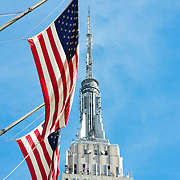 Empire State Building and United States flags, Manhattan