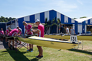 "Henley on Thames, United Kingdom, 2nd July 2018, Monday,   ""Henley Royal Regatta"",  view, Abingdon School, preparing their boat, in the boat area,  for the start of the Regatta, on the, Wednesday,  4th July, Henley Reach, River Thames, Thames Valley, England, © Peter SPURRIER,"