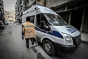 Dec. 29, 2015 - Aleppo, Syria - <br /> <br /> Syria Conflict<br /> <br /> Nour, a 18-year-old Syrian man, rides an ambulance, in a rebel-controlled area of Aleppo, on December 29, 2015. Nour lost his leg following a bomb barrel attack by forces of Syria's President Bashar al-Assad near his house in Bustan al-Qasr district. A report from the Syrian Observatory for Human Rights (SOHR) claims that over 1,000 children have been killed in airstrikes during the nation' ongoing civil war, an additional 1.5 million people have been wounded for life in the airstrikes that have been carried out by Syria'government since the Syrian conflict.<br /> ©Exclusivepix Media