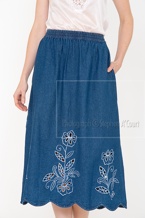 Cutwork Denim Skirt. Photo credit: Stephen A'Court.  COPYRIGHT ©Stephen A'Court