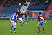 Cameron Dummigan Oldham Defender & Simon Church Scunthorpe Forward during the EFL Sky Bet League 1 match between Oldham Athletic and Scunthorpe United at Boundary Park, Oldham, England on 28 October 2017. Photo by George Franks.