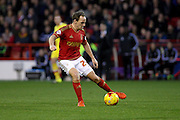 Nottingham Forest midfielder David Vaughan controls the ball during the Sky Bet Championship match between Nottingham Forest and Milton Keynes Dons at the City Ground, Nottingham, England on 19 December 2015. Photo by Aaron Lupton.