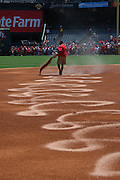 ANAHEIM, CA - APRIL 26:  The grounds crew works the field prior to the Los Angeles Angels of Anaheim game against the Seattle Mariners at Angel Stadium on Sunday, April 26, 2009 in Anaheim, California.  The Angels shut out the Mariners 8-0.  (Photo by Paul Spinelli/MLB Photos via Getty Images)