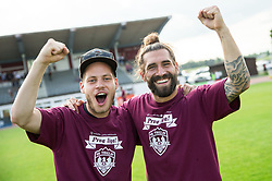 Luka Majcen of Triglav of Triglav celebrate after winning during 2nd Leg football match between NK Triglav Kranj and NS Drava Ptuj in Qualifications of Prva Liga Telekom Slovenije 2018/19, on June 6, 2018 in Kranj, Slovenia. Photo by Vid Ponikvar / Sportida