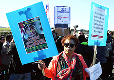 Auckland-Protestors outside Fiji's Frank Bainimarama election meeting