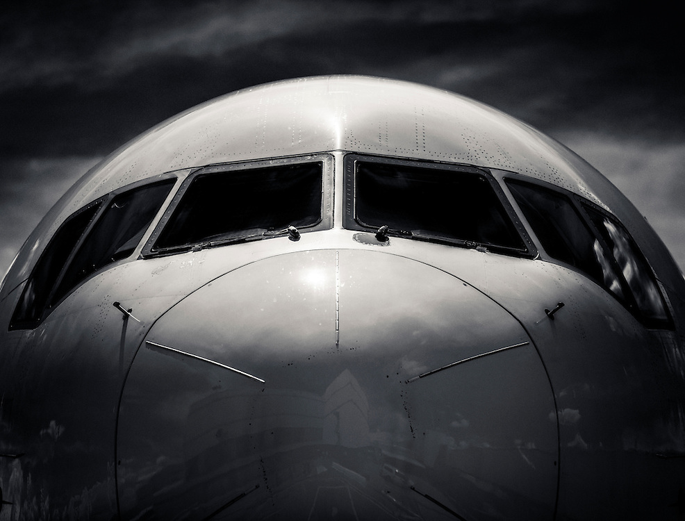 Nose of a Delta Air Lines Boeing 767-400, on the ramp at Hartsfield-Jackson Atlanta International Airport.  Created by aviation photographer John Slemp of Aerographs Aviation Photography. Clients include Goodyear Aviation Tires, Phillips 66 Aviation Fuels, Smithsonian Air & Space magazine, and The Lindbergh Foundation.  Specialising in high end commercial aviation photography and the supply of aviation stock photography for commercial and marketing use.