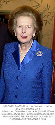 BARONESS THATCHER at a luncheon in London on 24th April 2002.	OZI 8