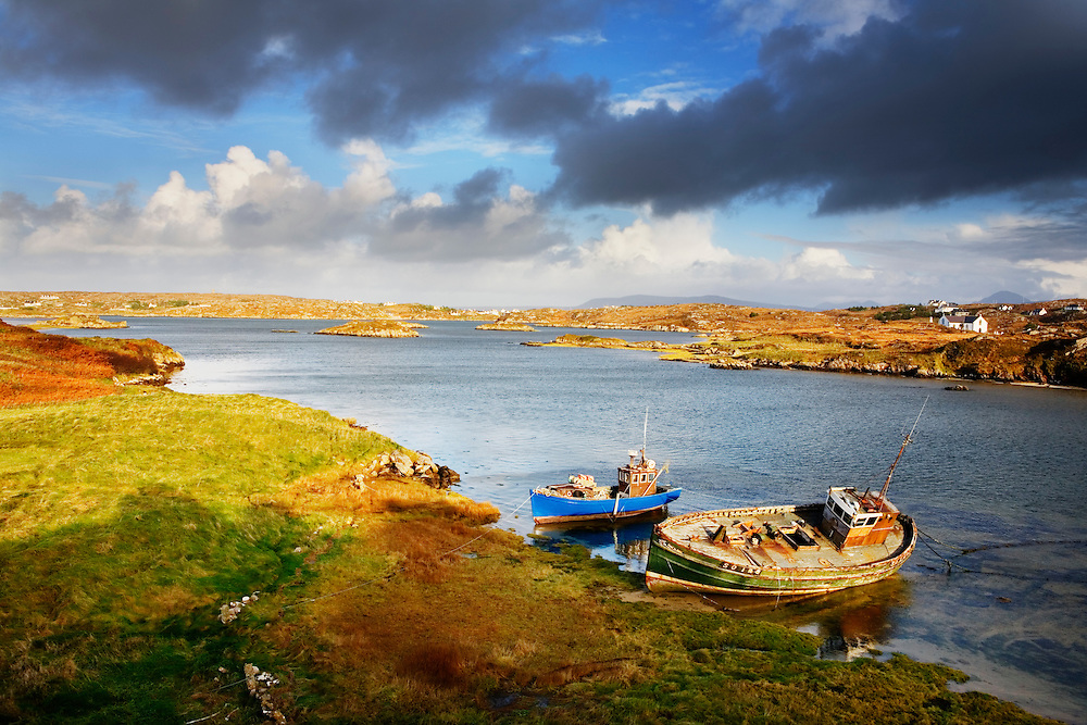 Two fishing boats moored on Cruit Island, County Donegal, Ireland.