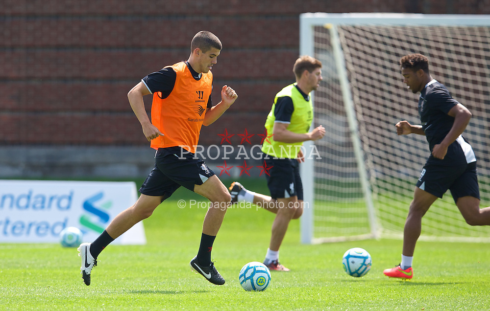 HARVARD, USA - Monday, July 21, 2014: Liverpool's Conor Coady during a preseason training session at the Harvard Stadium in Boston on day one of their USA Tour. (Pic by David Rawcliffe/Propaganda)