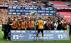 Hull City celebrate winning the Playoff Final and Promotion to the Premier League - Mandatory by-line: Robbie Stephenson/JMP - 28/05/2016 - FOOTBALL - Wembley Stadium - London, England - Hull City v Sheffield Wednesday - Sky Bet Championship Play-off Final