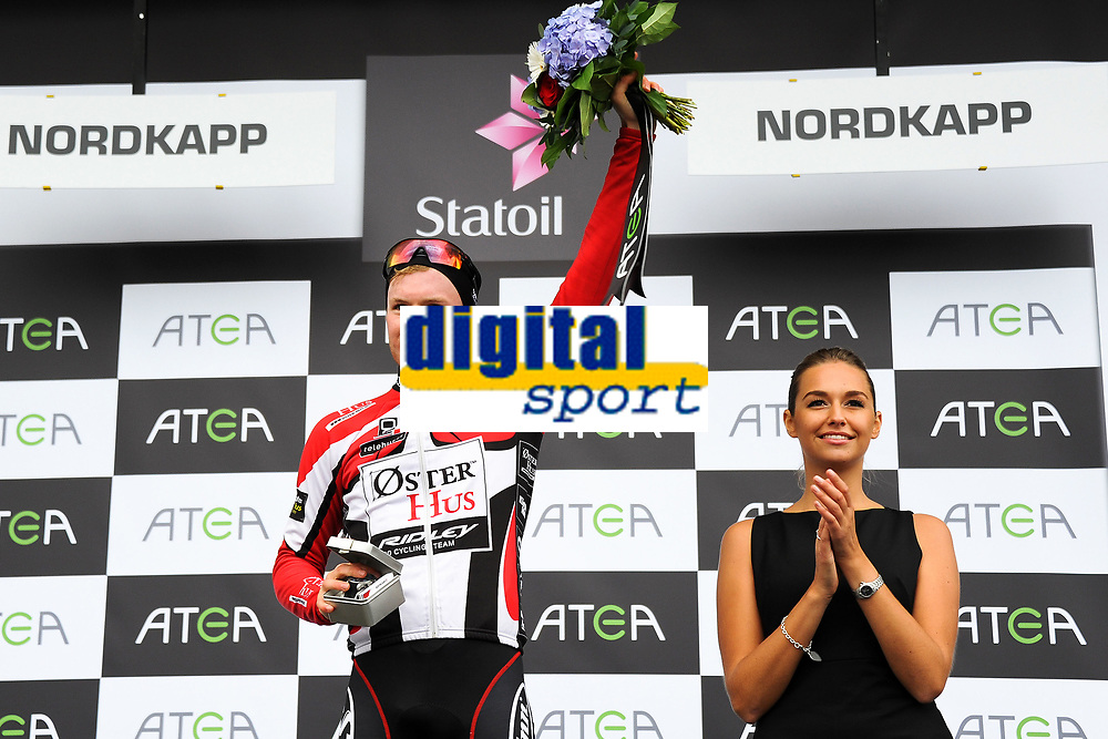 Podium, Jensen AUGUST (Nor) Red Jersey, during the Artic Race Norway 2014, Stage 1, Hammerfest (Nor)-Nordkapp (Nor) (204km), on August 14, 2014. Photo Tim de Waele / DPPI