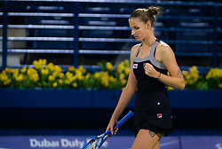 February 19, 2019 - Dubai, ARAB EMIRATES - Karolina Pliskova of the Czech Republic in action during her second-round match at the 2019 Dubai Duty Free Tennis Championships WTA Premier 5 tennis tournament (Credit Image: © AFP7 via ZUMA Wire)