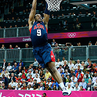 06 August 2012: USA Andre Iguodala dunks the ball during 126-97 Team USA victory over Team Argentina, during the men's basketball preliminary, at the Basketball Arena, in London, Great Britain.