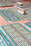 MARRAKESH, MOROCCO - May 27th 2018 - Saadian Tombs decorative architecture located near the Kasbah Mosque, Marrakesh medina, Morocco