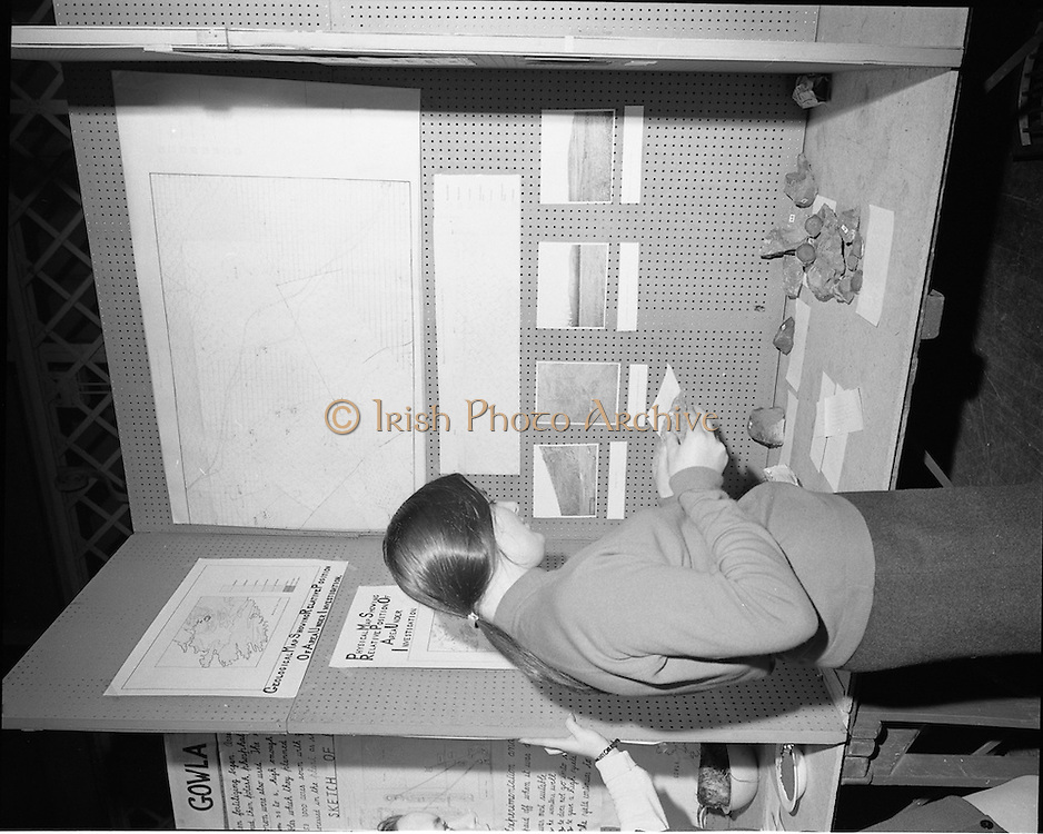 01/01/1970.1st January 1970 .Aer Lingus Young Scientist of the Year Exhibition at the RDS..Kathleen Leonard, from Ursuline Convent, Blackrock, Cork setting up her exhibit, 'a geological study of Pallasgreen, Co. Limerick.