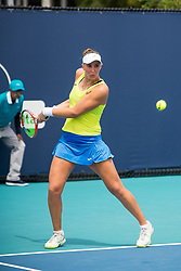 March 18, 2019 - Miami Gardens, FL, U.S. - MIAMI GARDENS, FL - MARCH 18: Beatriz Haddad Maia (BRA) in action during the Miami Open on March 18, 2019 at Hard Rock Stadium in Miami Gardens, FL. (Photo by Aaron Gilbert/Icon Sportswire) (Credit Image: © Aaron Gilbert/Icon SMI via ZUMA Press)