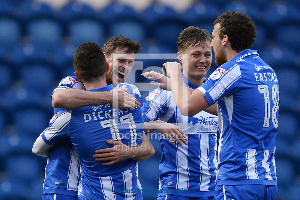 Chris Porter of Colchester United (2nd left) celebrates scoring his sides first goal to make the scoreline 1-0  during the Sky Bet League 2 match between Colchester United and Carlisle United at the Weston Homes Community Stadium, Colchester<br /> Picture by Richard Blaxall/Focus Images Ltd +44 7853 364624<br /> 07/01/2017