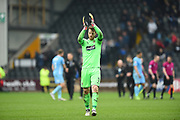 Notts County goalkeeper Adam Collin (1) applauds the County supporters during the EFL Sky Bet League 2 match between Notts County and Coventry City at Meadow Lane, Nottingham, England on 7 April 2018. Picture by Jon Hobley.