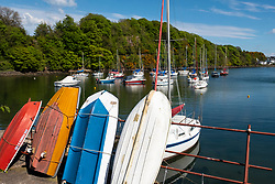 Yachts in harbour at Aberdour village in Fife, Scotland, UK